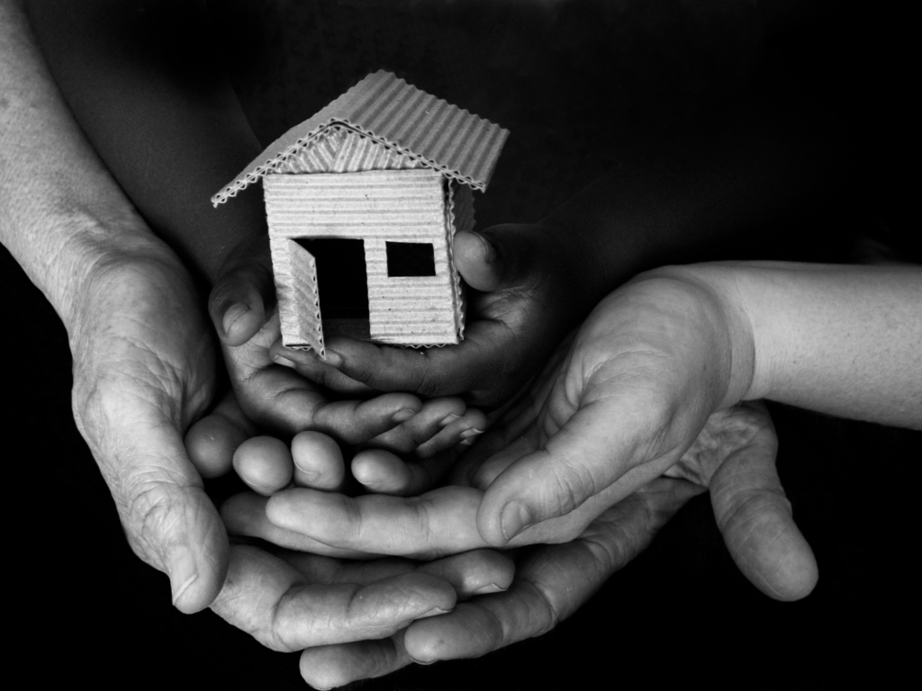 General image of multiple hands holding a small home.