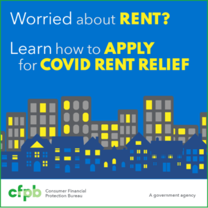 """""""Worried About Rent? Learn how to apply for COVID rent relief."""