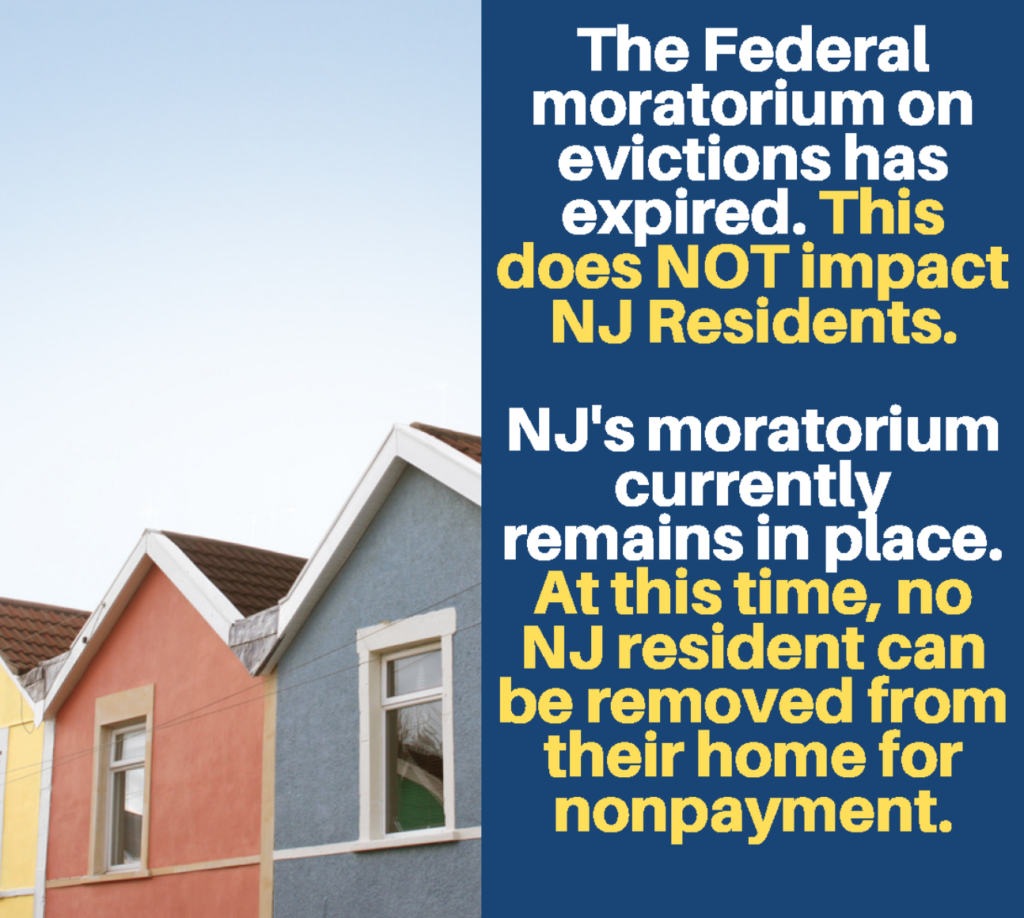 Graphic explaining that the federal eviction moratorium does not effect New Jersey.